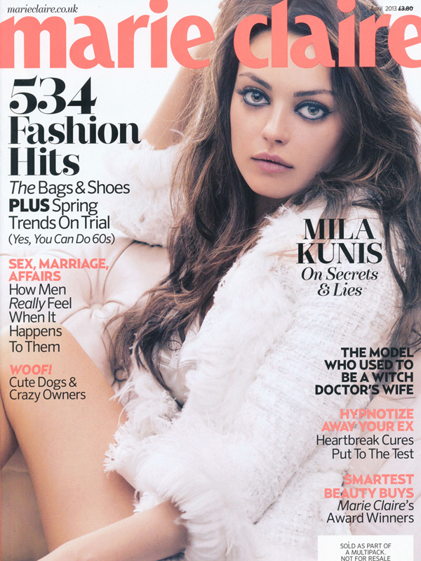 MILA KUNIS in Marie Claire Magazine
