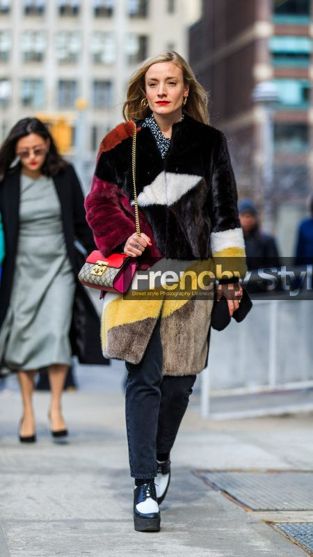 AUTUMN WINTER 2016-2017, AW 16-17, black and white wedges, black denim, black fur, brown fur, denim pants, fashion week, frenchystyle, full length, fur coat, FW, FW 16-17, graphic coat, gucci, high heels, jeans, jonathan paciullo, kate foley, leather shoes, NEW YORK, NYFW, red bag, red fur, street style, vertical, woman