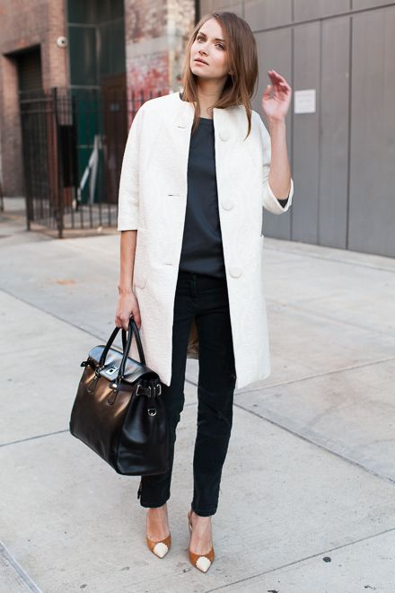 white minimalistic coat