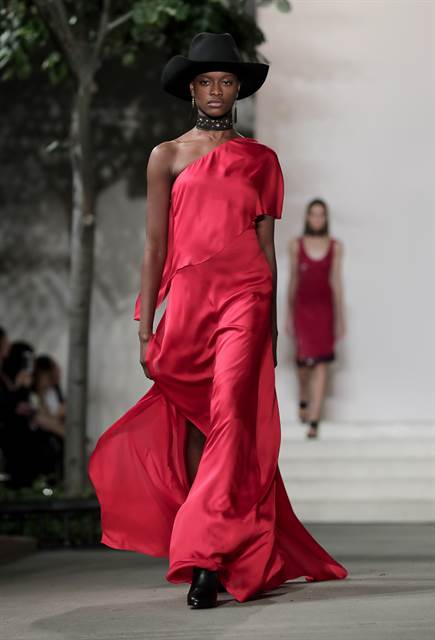 ralph laurent long red gown