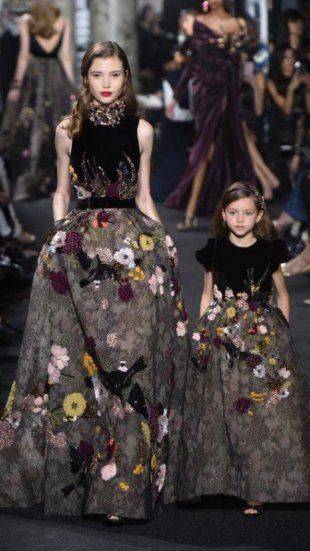 Elie Saab evening gowns for mother and daughter