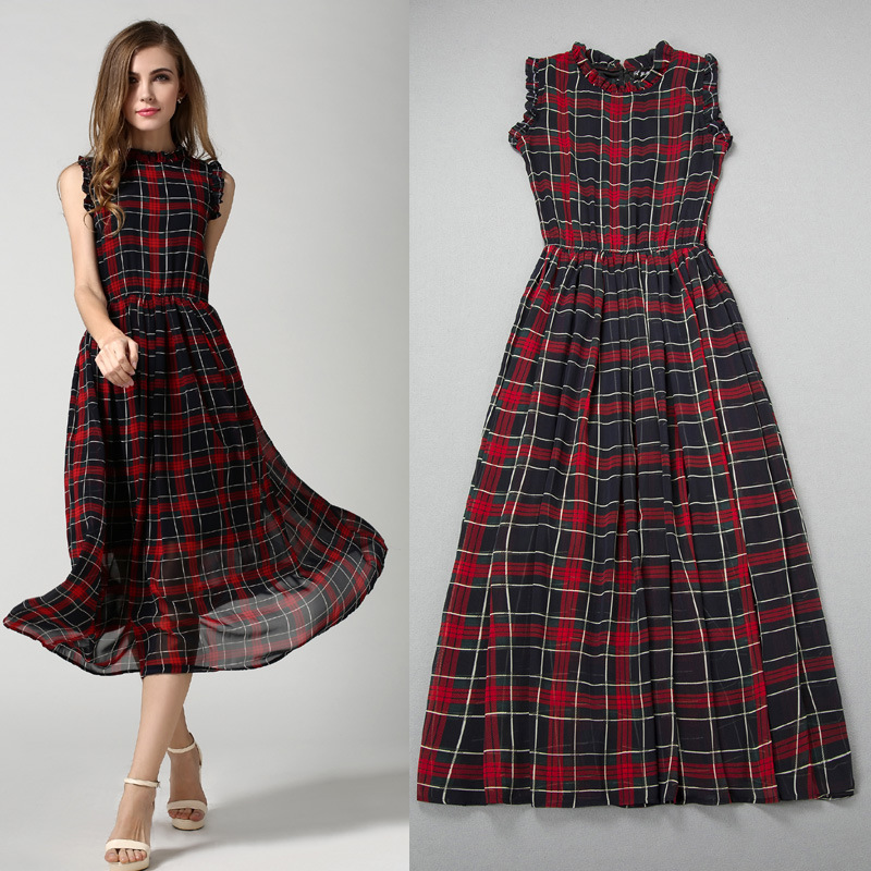 red scotland dresses sleeveless